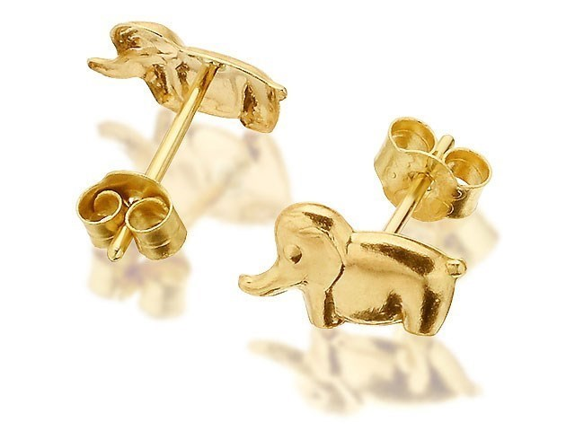 9ct gold elephant stud earrings 7mm g0331 f hinds