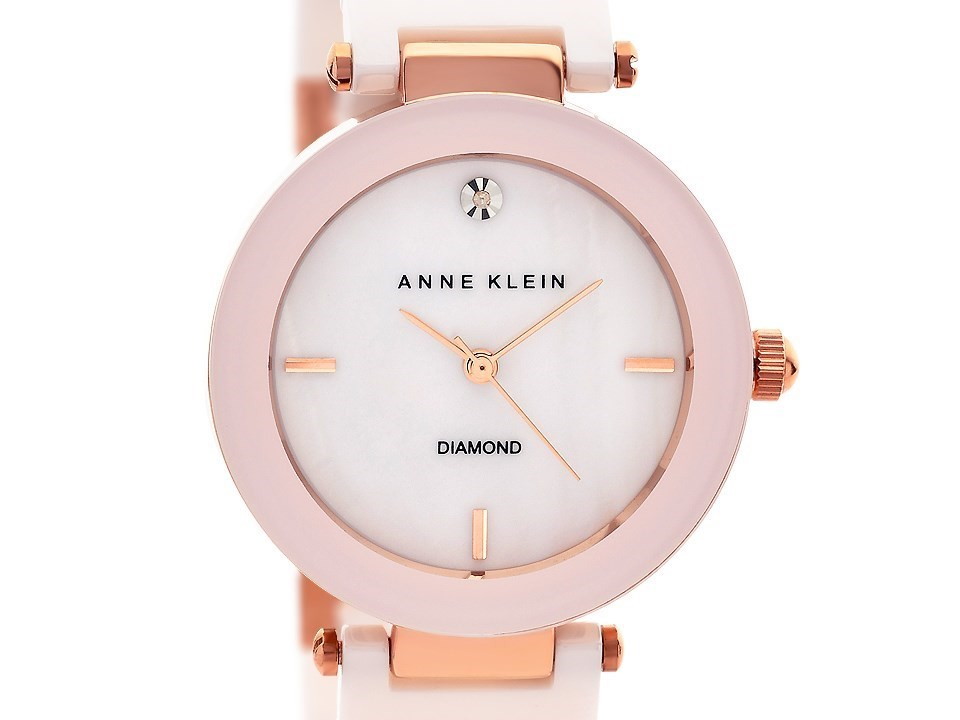 Anne klein ak n1018rglp rose gold plated diamond set pink ceramic bracelet watch w8009 f for Anne klein rose gold watch set