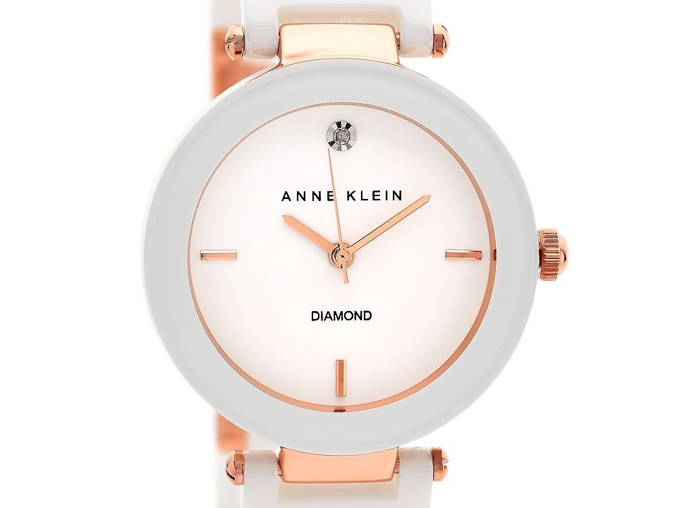 Anne klein ak n1018rgwt rose gold plated diamond set white ceramic bracelet watch w8010 f for Anne klein rose gold watch set