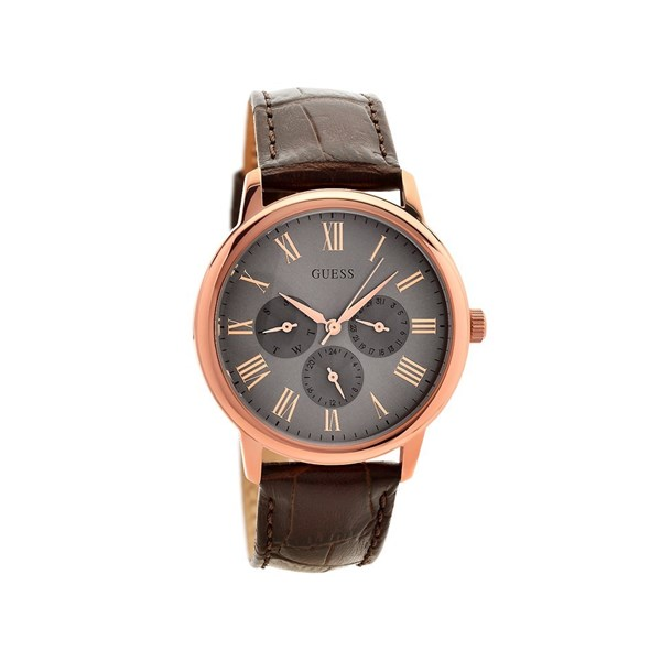 Guess W0496G1 Wafer Rose Gold Plated Brown Leather Strap ...