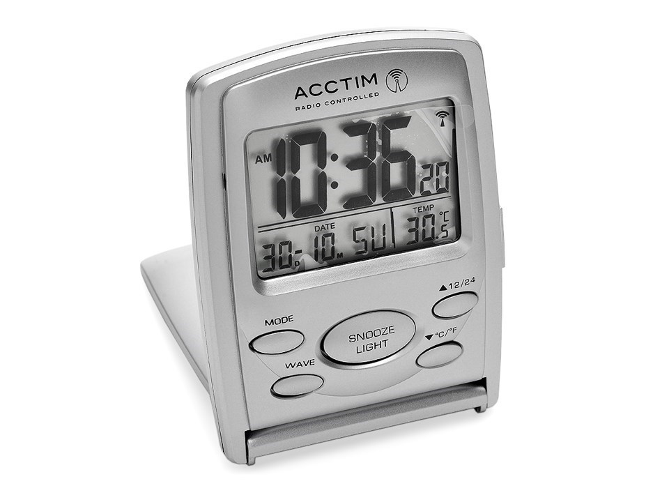 acctim radio controlled folding travel alarm clock c0424 f hinds jewellers. Black Bedroom Furniture Sets. Home Design Ideas