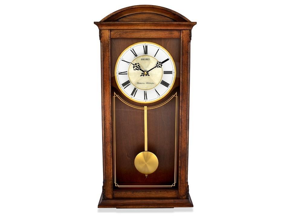 Seiko oak pendulum chiming wall clock c7165 fhinds for Seiko chiming wall clock