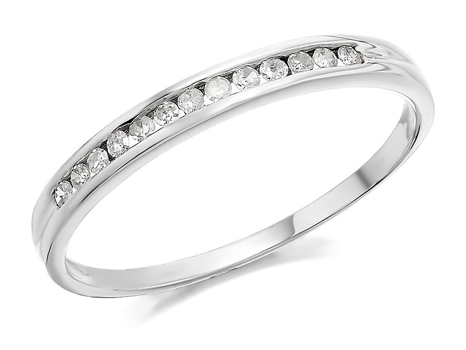 9ct white gold half eternity ring 10pts d7269