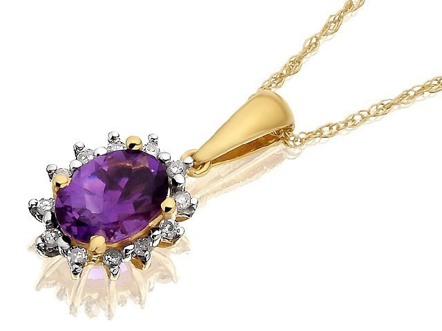 9ct gold and amethyst cluster pendant and chain