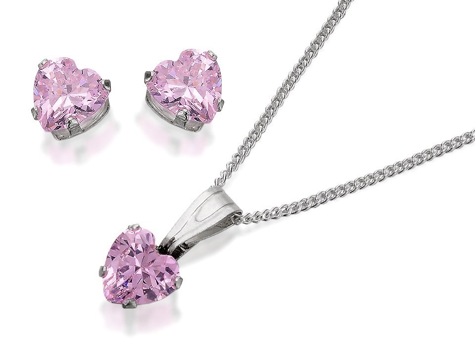Silver Pink Cubic Zirconia Heart Pendant And Earring Gift Set