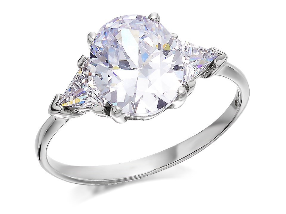 9ct white gold cubic zirconia trilogy ring r6104 f