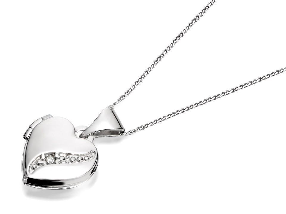 9ct White Gold Diamond Heart Locket And Chain R7244 F