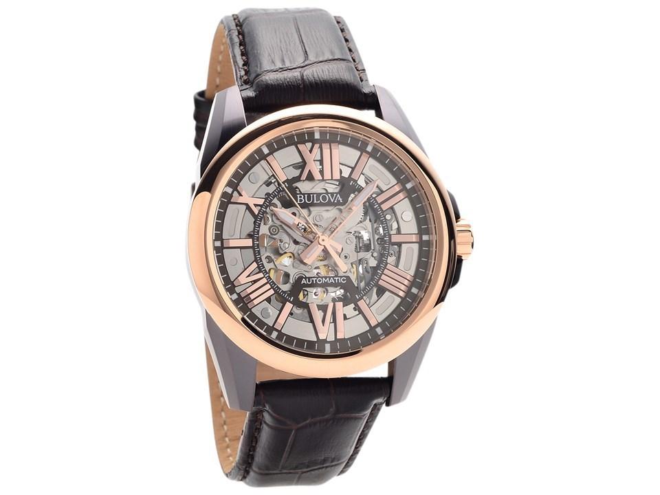 Bulova 98A165 Two Tone Automatic Skeleton Black Leather Strap Watch