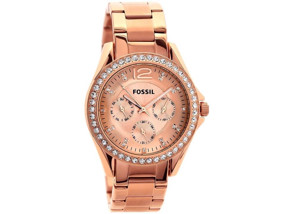 fossil es2811 riley rose gold plated stone set bracelet watch w1008 f hinds jewellers. Black Bedroom Furniture Sets. Home Design Ideas
