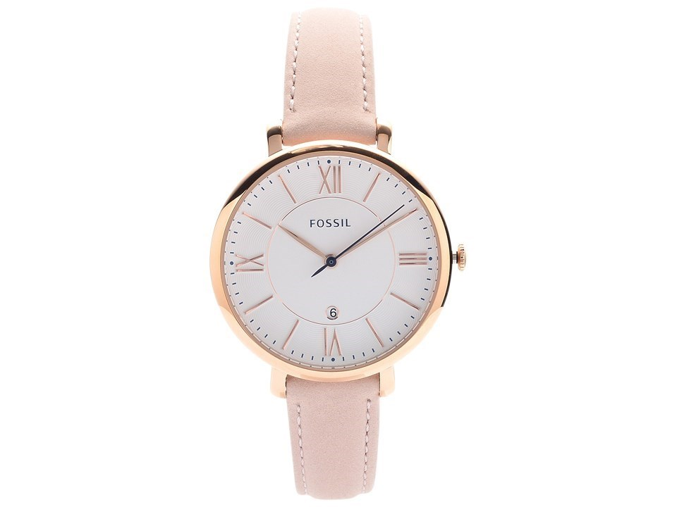 Fossil ES3988 Jacqueline Rose Gold Plated Pale Pink Leather Strap Watch