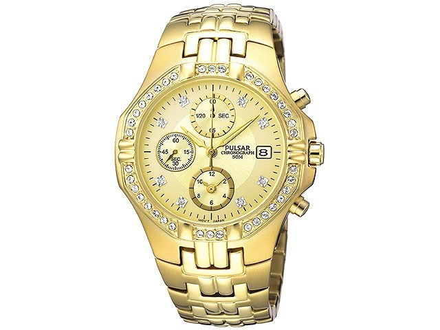 pulsar pf8174x1 gold plated chronograph set bracelet