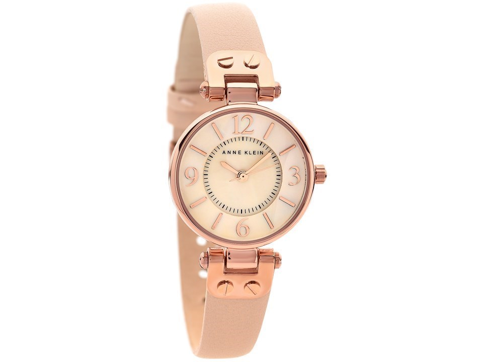 Anne klein 10 n9442rglp rose gold plated blush pink leather strap watch w8004 f hinds jewellers for Anne klein rose gold watch set