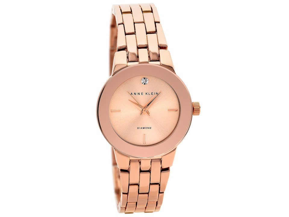 Anne klein ak 1930rgrg rose gold plated diamond set bracelet watch w8016 f hinds jewellers for Anne klein rose gold watch set