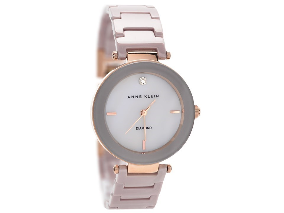 Anne klein ak 1018rgtp rose gold plated grey ceramic bracelet watch w8029 f hinds jewellers for Anne klein rose gold watch set