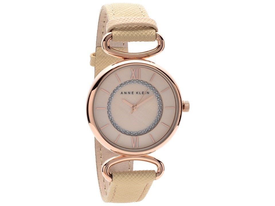 Anne klein ak 2192rglp rose gold plated cream leather strap watch w8045 f hinds jewellers for Anne klein gold watch