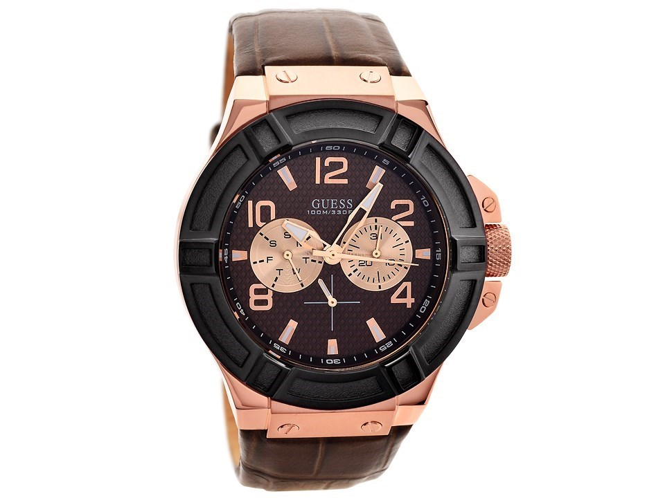 guess w0040g3 rigor gold plated brown leather