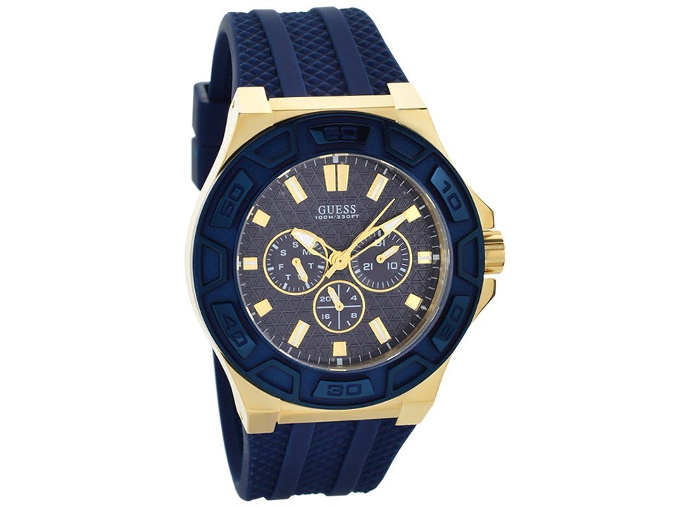 guess w0674g2 gold plated blue resin
