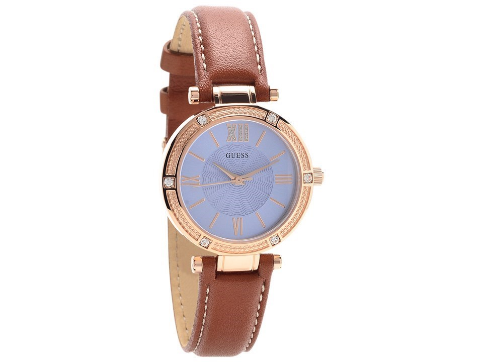 Guess W0838L2 Park Ave Rose Gold Plated Brown Leather ...