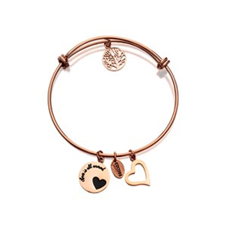 Coco88 Celestial Expandable Rose Gold Plated Heart Charms Bangle - J7610