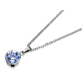 Coco88 8CN-10023 Light Blue Crystal December Birthstone Necklace - J76123