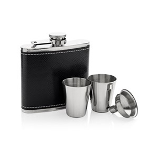 Stainless Steel 5oz Captive Top Hip Flask, Two Snifter Cups And Funnel Gift Set - A3194