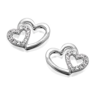 Silver Two Hearts Cubic Zirconia Stud Earrings - 12mm - F0453