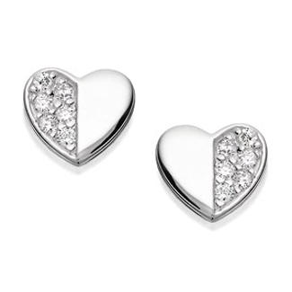 Silver Cubic Zirocnia Heart Stud Earrings – 8mm - F0457