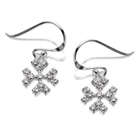 Silver Crystal Snowflake Hook Wire Drop Earrings - F0829