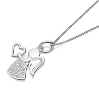 Silver Cubic Zirconia Angel Necklace - F3499