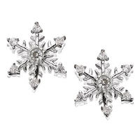 9ct White Gold Cubic Zirconia Snowflake Earrings - 11mm - G2715