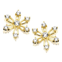 9ct Gold Cubic Zirconia Snowflake Stud Earrings - 10mm - G2741
