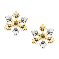 9ct Gold Two Colour Cubic Zirconia Snowflake Stud Earrings - 8mm - G2908