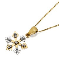 9ct Gold Two Colour Cubic Zirconia Snowflake Necklace - R6931