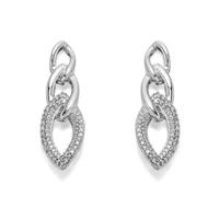 9ct White Gold Triple Link Diamond Stud Earrings