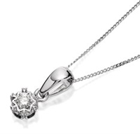 9ct White Gold Diamond Solitaire Necklace - 5pts - D5614