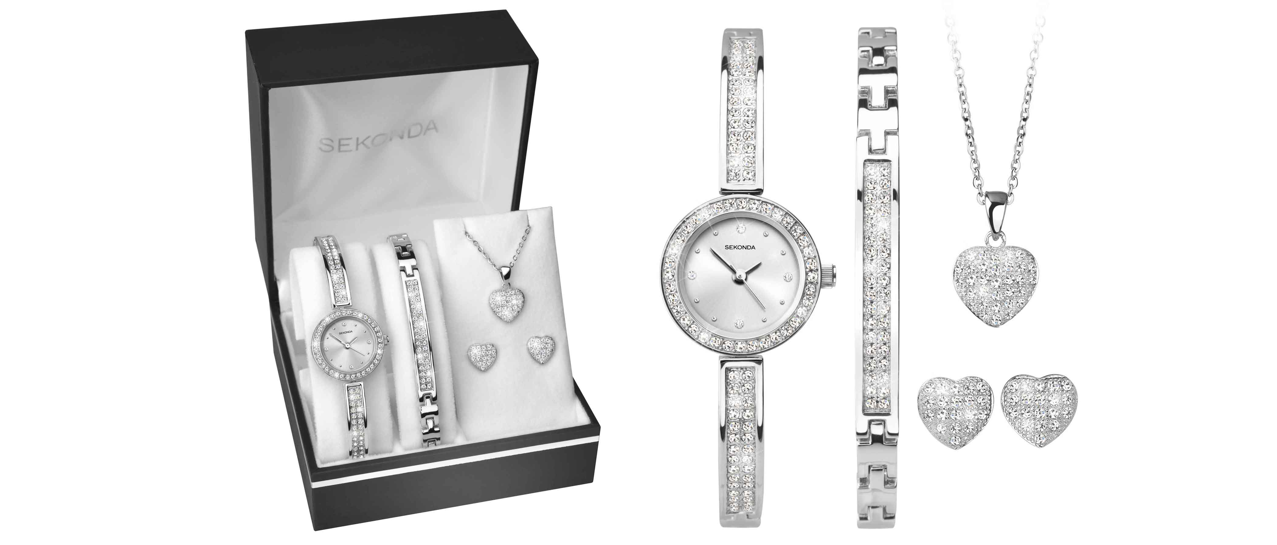 Sekonda 2528G Stone Set Watch, Bracelet, Necklace and Earrings Gift Set - W32163