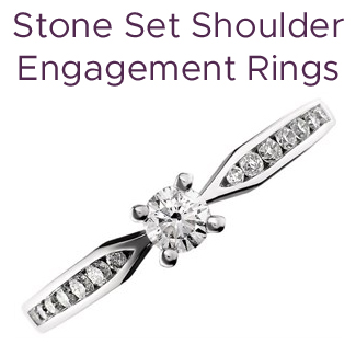 Click to view our engagement rings with stone set shoulders