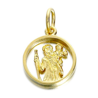 9ct Gold Cut Out St. Christopher Medallion - 14mm - G5378