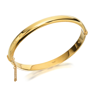 Rolled Gold Rounded Edge Hinged Bangle - G8615