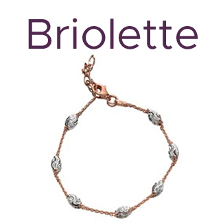 Briolette Silver And Rose Plated Diamond Cut Bracelet - J7718