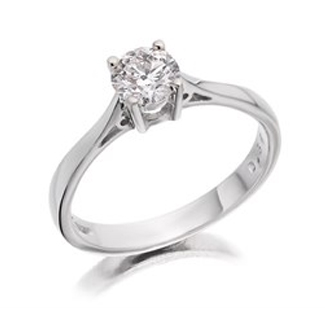 18ct White Gold 1 Carat Diamond Solitaire Ring - Certificated - D1507