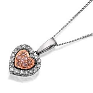 9ct White Gold One In A Million Pink And White Diamond Heart Necklace - 10pts - D7894