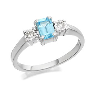 9ct White Gold Blue Topaz And Diamond Trilogy Ring - 6pts - D7921
