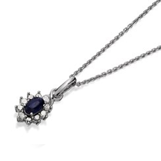 My Diamonds Silver Sapphire And Diamond Necklace - 15pts - D90111