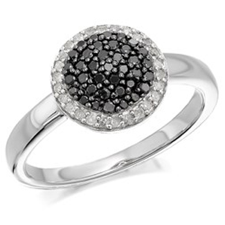 My Diamonds Silver Black And White Diamond Cluster Ring - 1/3ct - D9096