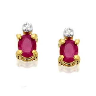 9ct Gold Oval Ruby And Diamond Stud Earrings - G0910
