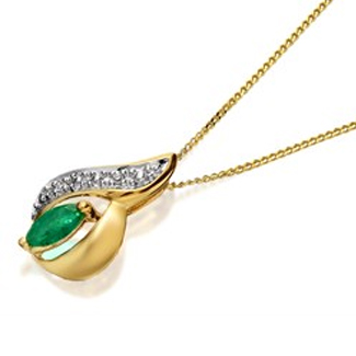 9ct Gold Emerald And Diamond Pendant And Chain - R8335