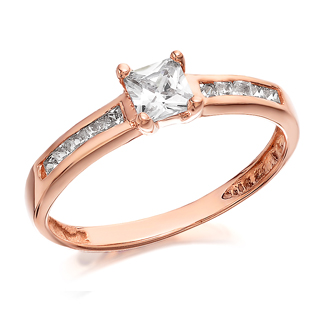 9ct Rose Gold Princess Cut Cubic Zirconia Ring - R5913