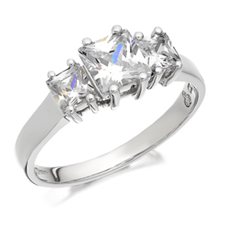 9ct White Gold Cubic Zirconia Princess Cut Trilogy Ring - R6506
