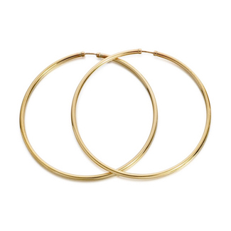 9ct Gold Extra Large Lightweight Hoop Earrings - 50mm - G2074